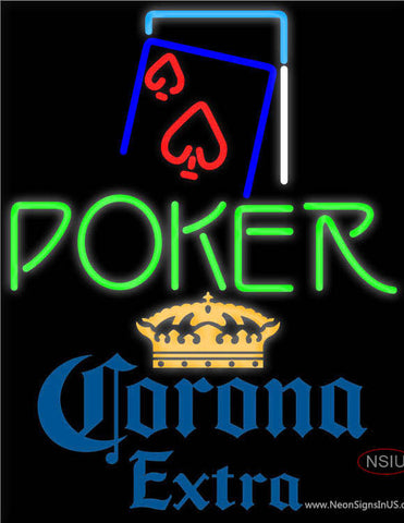 Corona Extra Green Poker Red Heart Neon Sign