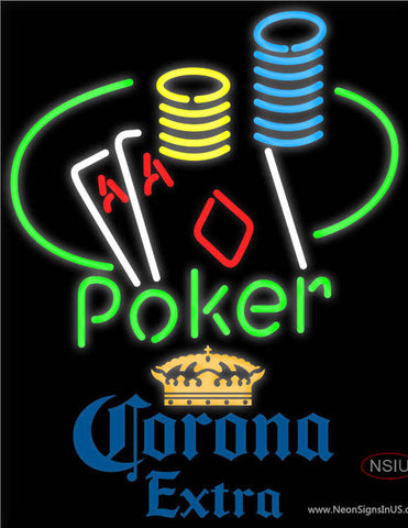Corona Extra Poker Ace Coin Table Neon Sign