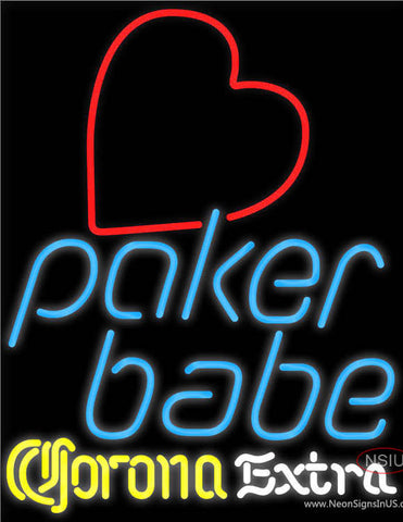Corona Extra Poker Girl Heart Babe Neon Sign