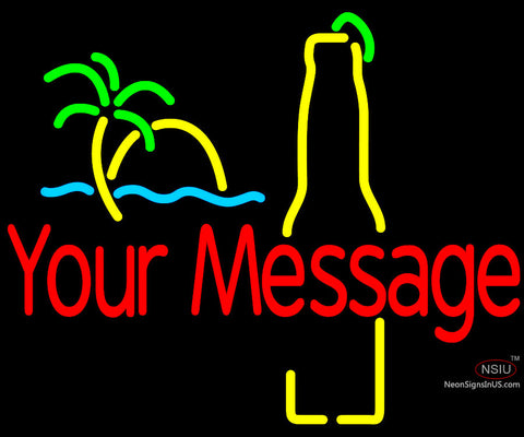 Custom Sunset Palm Tree Bottle Neon Beer Sign