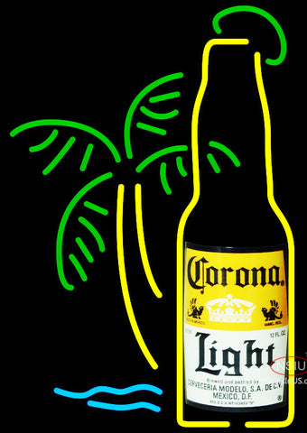 Corona Light Bottle W Palm Tree Neon Beer Sign