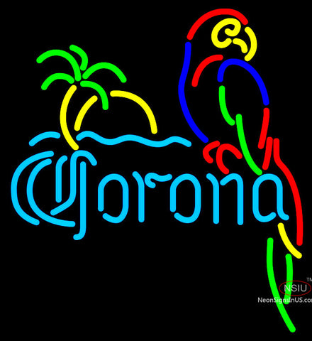 Corona Parrot With Palm Neon Beer Sign