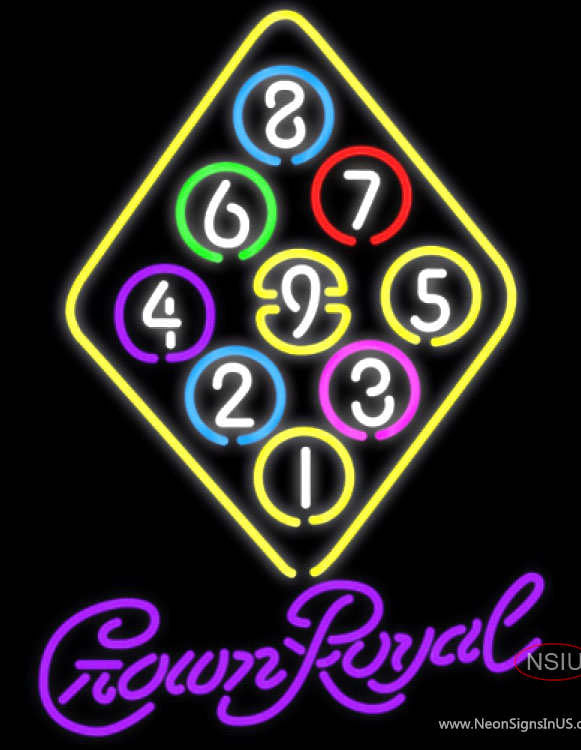 Crown Pools Inc: Crown Royal Ball Billiards Rack Pool Neon Sign