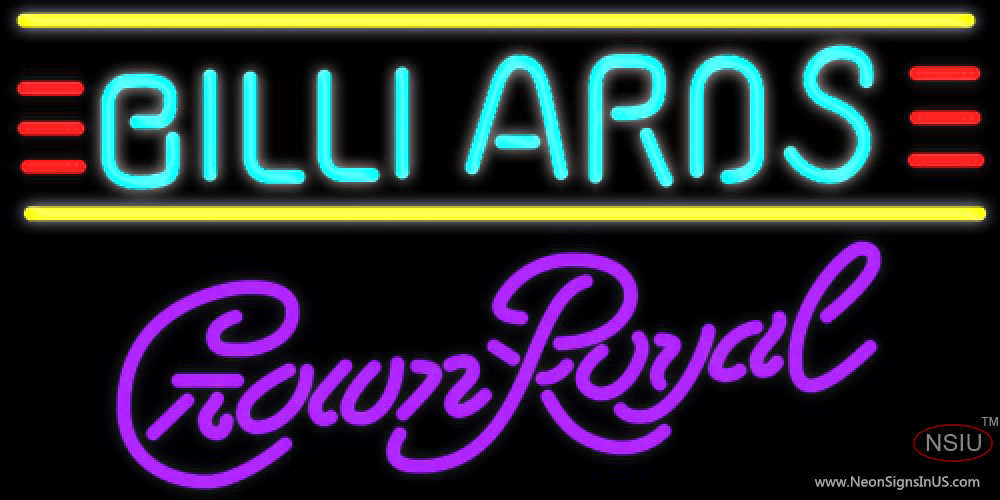 Crown Pools Inc: Crown Royal Billiards Text Borders Pool Neon Sign 7