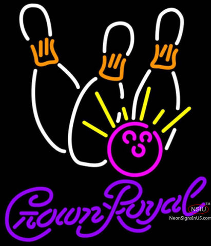 Crown Royal Bowling Neon White Pink Neon Sign
