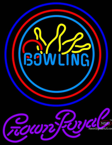 Crown Royal Bowling Neon Yellow Blue Neon Sign