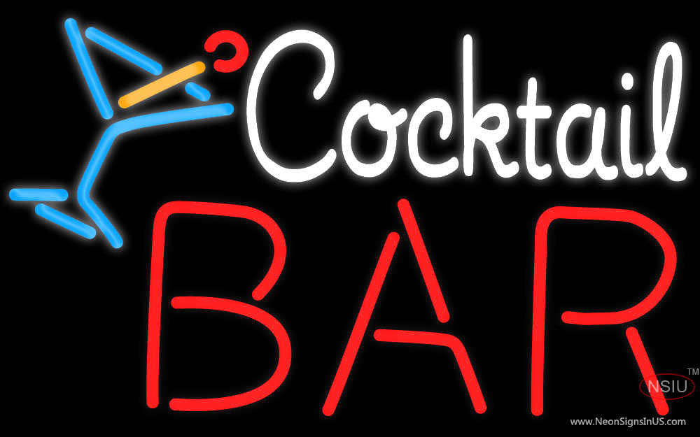 Custom Bar With Cocktail Neon Sign