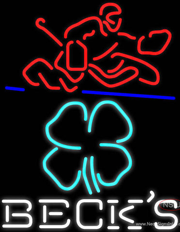 Custom Becks Logo With Shamrock And Hockey Player Neon Sign