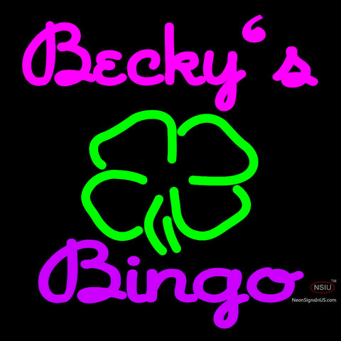 Custom Becky Bingo Logo Neon Sign