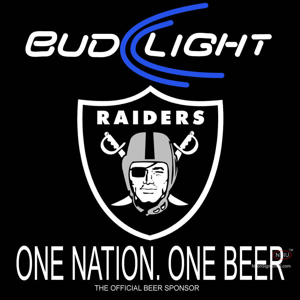 Bud Light Oakland Raiders One Beer One Nation Neon Sign