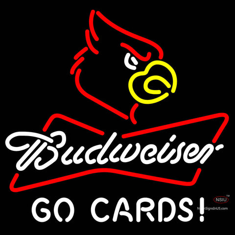 Budweiser Cardinal Bird Head Go Cards Neon Sign