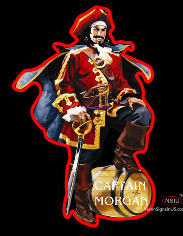Captain Morgan Logo With Out White Light Behind Neon Sign