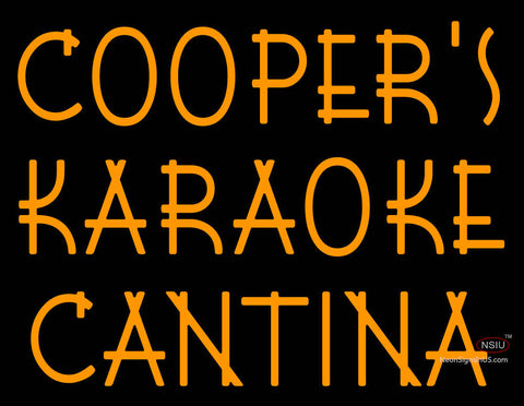 Custom Coopers Karaoke Cantina Real Neon Glass Tube Neon Sign