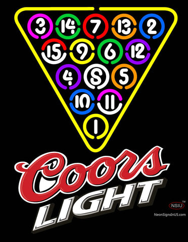 Coors Light Billard Poolhall Ball Neon Sign