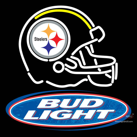 Helmet With The Steeler And Bud Light Logo Real Neon Glass Tube Neon Sign