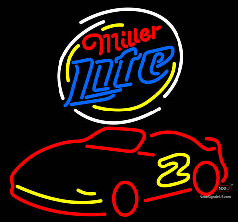 Miller Lite Logo Nascar Rusty Wallace Beer Neon Sign