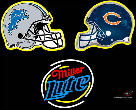 Detroit Lions & Chicago Bears Helmet with Miller Lite with Neon Sign