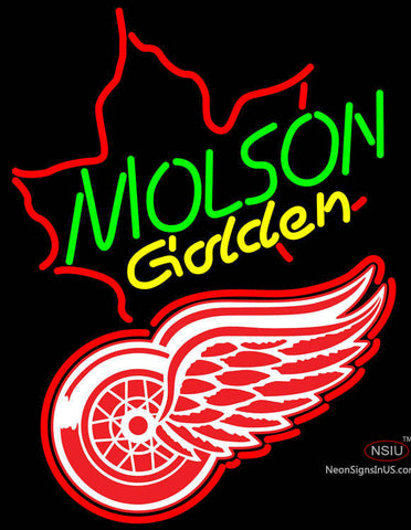 NHL Detroit Red Wings with Molson Golden Maple Leaf Neon Sign