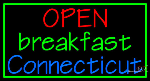 Custom Open Breakfast Connecticut Neon Sign