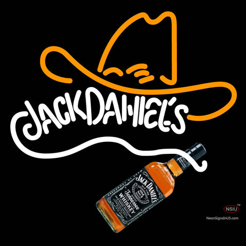 Custom Rare Jack Daniels Whiskey Cowboy Hat Neon Sign