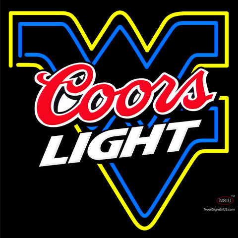 Custom Wendy West Virginia University Flying Wv And Coors Light Logo Neon Sign
