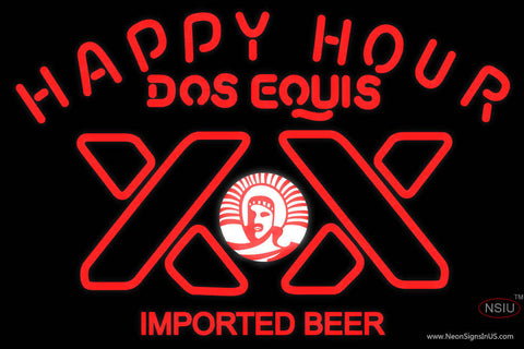 Dos Equis Beer Happy Hour Neon Beer Sign