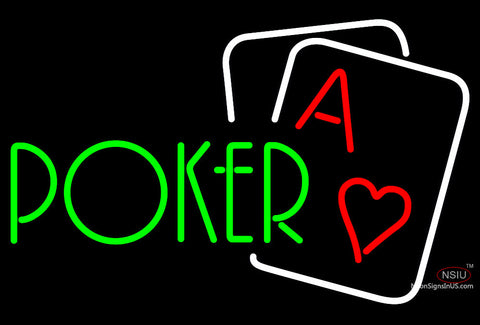 Green Poker Neon Sign