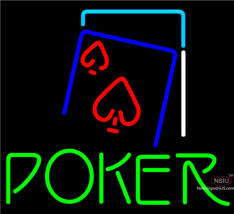 Green Poker Red Heart Neon Sign x