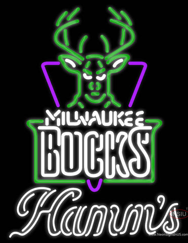 Hamms Milwaukee Bucks NBA Neon Beer Sign