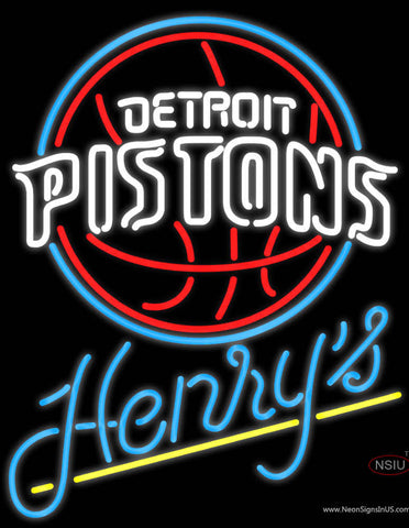 Henrys Detroit Pistons NBA Neon Beer Sign