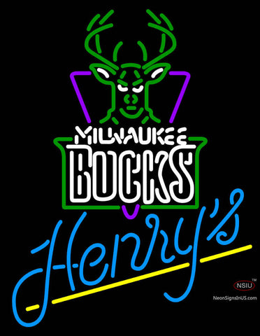 Henrys Milwaukee Bucks NBA Neon Beer Sign