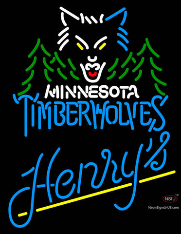 Henrys Minnesota Timber Wolves NBA Neon Beer Sign