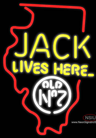 Jack Daniels Jack Lives Here Illinois Neon Sign