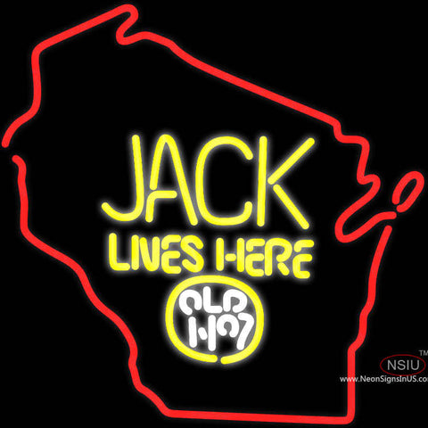 Jack Daniels Jack Lives Here Wisconsin Neon Sign x