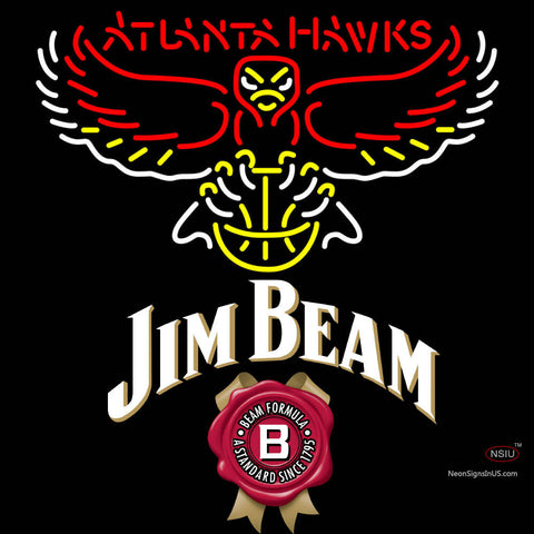 Jim Beam Atlanta Hawks NBA Neon Beer Sign