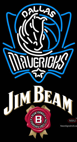 Jim Beam Dallas Mavericks NBA Neon Beer Sign