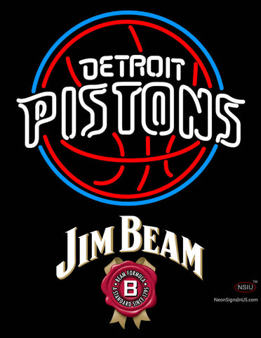 Jim Beam Detroit Pistons NBA Neon Beer Sign