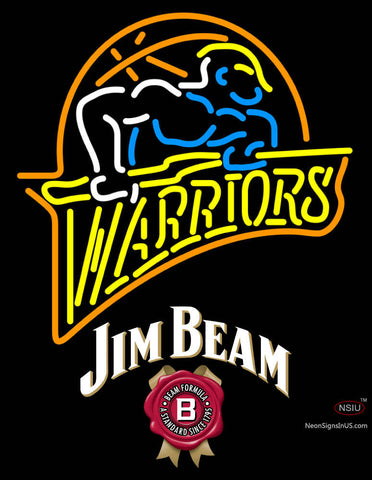 Jim Beam Golden St Warriors NBA Neon Beer Sign