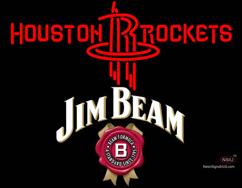 Jim Beam Houston Rockets NBA Neon Beer Sign