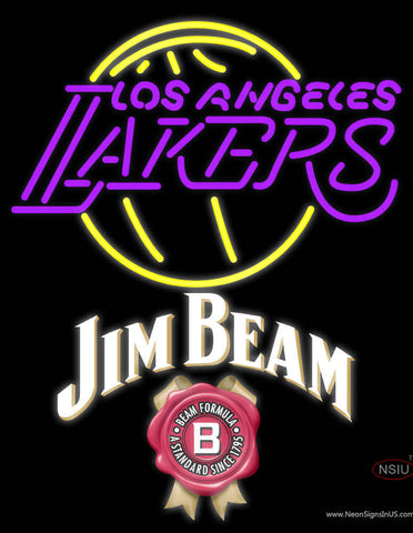 Jim Beam Los Angeles Lakers NBA Neon Beer Sign