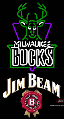 Jim Beam Milwaukee Bucks NBA Neon Beer Sign