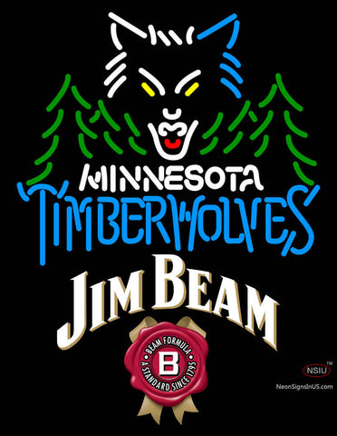 Jim Beam Minnesota Timber Wolves NBA Neon Beer Sign