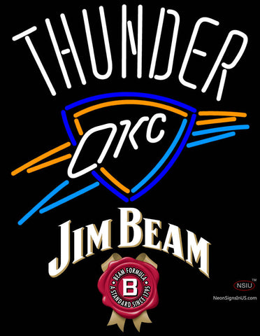 Jim Beam Oklahoma City Thunder NBA Neon Beer Sign