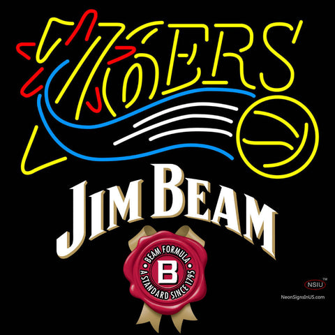 Jim Beam Philadelphia 7ers NBA Neon Beer Sign