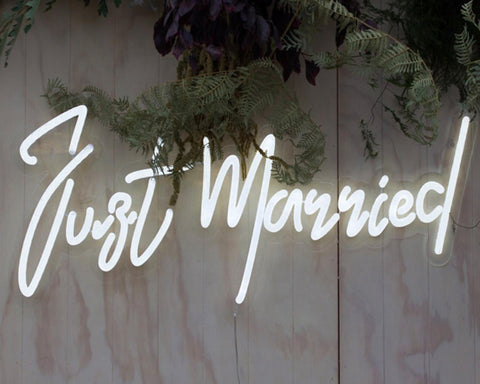 just married neon sign for wedding homemade art neon sign
