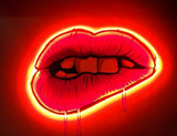 Sara Pope lips Real Neon Glass Tube Neon Sign