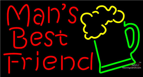 Man Best Friend Beer Glass Man Cave Neon Sign
