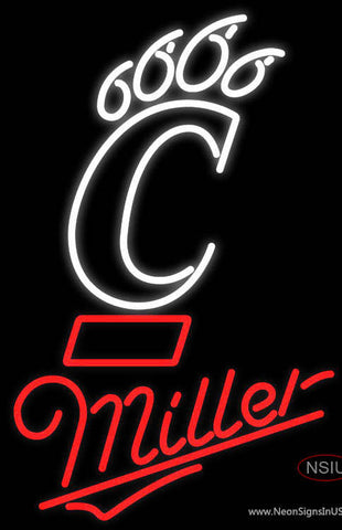 Miller University Of Cincinnati Bearcats Neon Beer Sign