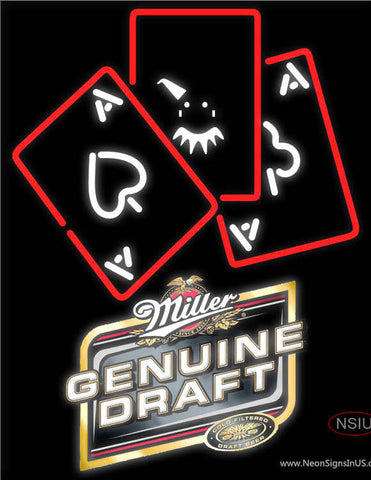 Miller Genuine Draft Ace And Poker Neon Sign