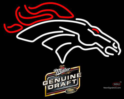 Miller Genuine Draft Denver Broncos NFL Neon Sign
